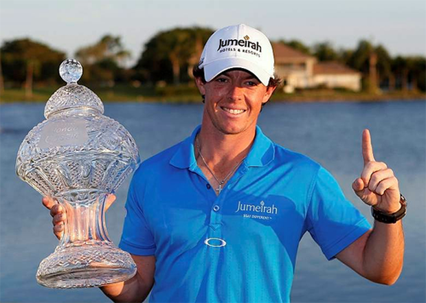 Rory McIlroy holds the winner's trophy after winning the Honda Classic PGA golf tournament at PGA National Golf Club in Palm Beach Gardens on March 4. The win meant Rory became golf's new world number one player. Photo: Reuters