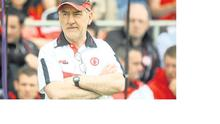 Tyrone manager Mickey Harte watching his team beating Armagh yesterday