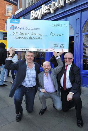 Ryanair boss, Michael O'Leary, John Boyle, founder of boylesport and Professor, Ken O'Byrne, James hospital, michael O'Leary has agreed to donate a 50,000 euro boylessport.com bnus for a cheltenham festival win to the cancer research team at St James Hospital headed by Prof Ken O'byrne who treated his late father, Ted O'Leary.