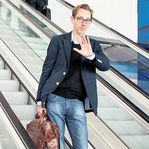 Ryan Tubridy arriving at Dublin Airport from London yesterday