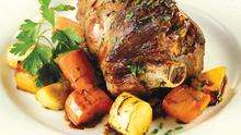 Lamb shanks with roast root vegetables