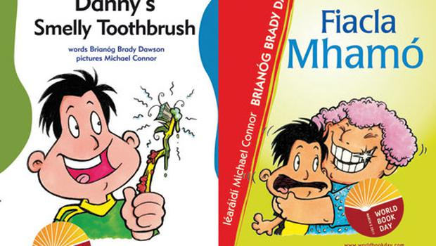 <p><b>Age 5+ flipbooks:  Fiacla Mhamó and Danny's Smelly Toothbrush, by Brianóg Brady Dawson (O'Brien Press). </b></p><p> This is a bilingual book featuring two stories, one in and one in English. Danny's Smelly Toothbrush concerns Danny and his bright, new, HATED toothbrush! It will also be available in Braille and can be borrowed from the National Council for the Blind of Ireland's (NCBI) library. Fiacla Mhamó is about grandma's false teeth, and what they are doing in Danny's schoolbag! <p>