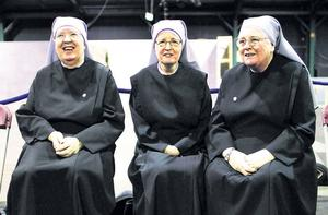 Little Sisters of the Poor nuns, left to right, Sr Patricia Donovan, Sr Mary Christina and Sr Marie Therese at the RDS, Dublin yesterday ahead of the opening of the 5Oth Eucharistic Congress tomorrow.