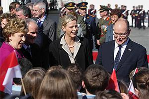 Prince Albert and his fiancee Charlene Wittstock were welcomed by schoolchildren from St Joseph's National school in Kilmessan, Co Meath. photo: PA
