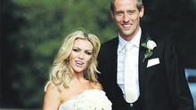 Peter Crouch and Abbey Clancy in the grounds of Stapleford Park in Leicester following their wedding yesterday