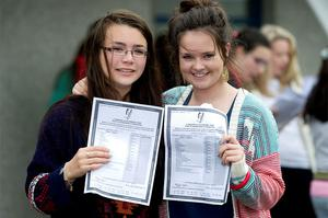 Eily Mary Fokseang from Tralee and Denise Culloty Tralee with their Junior Cert results