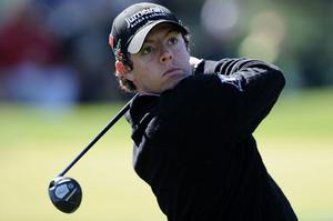 In the swing: Ireland's Rory McIlroy hits a tee shot during a practice round at Augusta. Photo: Getty Images