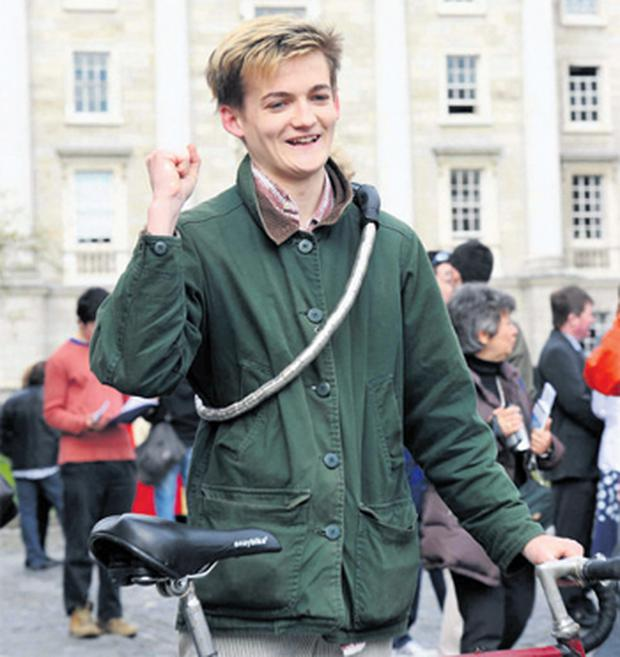 Actor Jack Gleeson, star of 'Game of Thrones', celebrates his honour as a TCD scholar yesterday