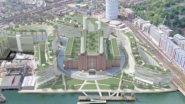 A graphic of the proposed plan for the Battersea Power Station site by Real Estate Opportunities Ltd. The masterplan includes around 3,700 new homes, 1.5 million sqft of office floorspace, 500,000 sqft of retail, restaurants, a hotel, leisure space and community facilities