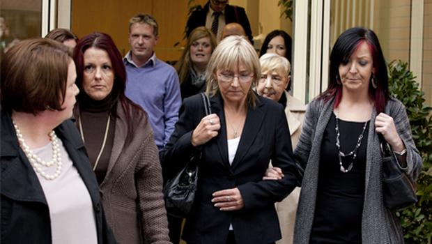 Rachel Peavoy's sister Leontia (second from right) with cousin Sandra Leonard, Claire Copeland and Linda McLoughlin outside Dublin City Coroner's Court yesterday