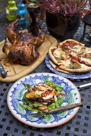 Boozy Bum chicken, Sweet Potato and Halloumi Salad and Thin-crust Barbecue Pizza
