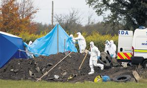 Garda forensic officers examine the scene at Timahoe Road, outside Portlaoise, where pregnant nanny Aoife Phelan's body was found after a 13-day search