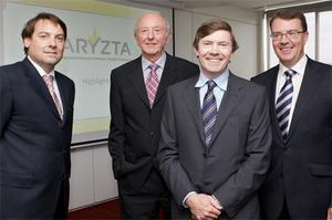 At the merger announcement in 2008 of IAWS and Hiestand to create food group Aryzta were, from left: IAWS directors, chief financial officer Patrick McEniff, chairman Denis Lucey, chief executive Owen Killian, and chief operations officer Hugo Kane. Photo: Patrick Bolger