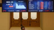A screen displays the IBEX 35 at Madrid's stock exchange on Wednesday