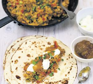 ROTI WRAPS WITH CHILLI CHICKPEAS