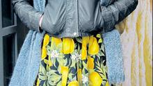 Ann Kenny. Ann's citrus-print skirt couldn't be more on trend. Eat your heart out, Stella McCartney.