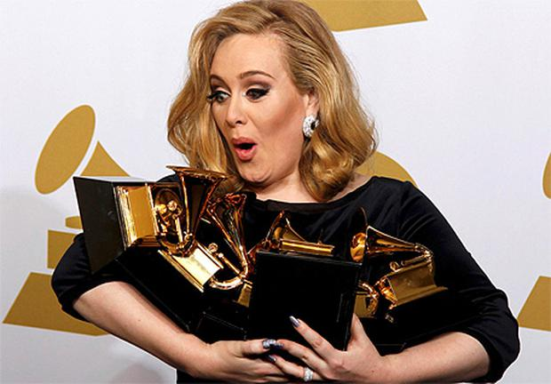 Adele with her six Grammys