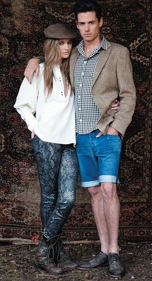 Caitlyn wears: Silk shirt, RRP €200, now €100, Jaeger. Snake-print jeans, RRP €269, now €131.60, 7 For All Mankind. Hat, €70, now €46, Hackett. Boots, Caitlyn's own. Seb wears: Herringbone jacket, RRP €600, now €400, Hackett. Shirt, RRP €95, now €40, Aquascutum. Denim shorts, RRP €199, now €132, 7 For All Mankind. Shoes, RRP €185, now €74, All Saints Contents page Shirt, RRP €100, now €50; hat, RRP €35, now €19, both Ted Baker. Bow tie, RRP €85, now €50, Aquascutum