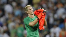 Joe Hart  reacts at the end of a Group D Champions League match against Real Madrid at the Bernabeu. Photo: AP