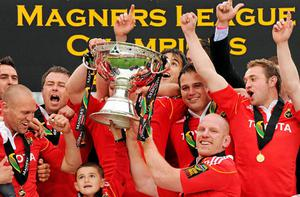 Munster captain Paul O'Connell collects the Magners League trophy at Thomond Park on Saturday
