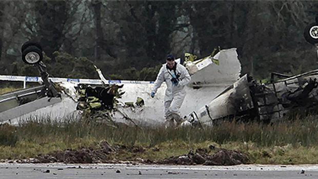 The remains of the Manx 2 passenger plane at Cork Airport. Photo: PA