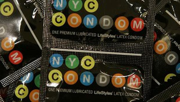 Packets of the New York-themed condoms (AP)
