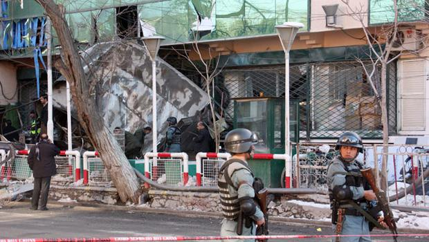 A general view of the wreckage after a suicide bomber set off an explosion at a shopping centre. Photo: Getty Images