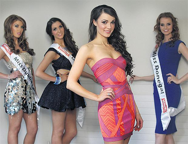 Miss Ireland contestant Esme Mansergh Wallace backstage with fellow contestants last night