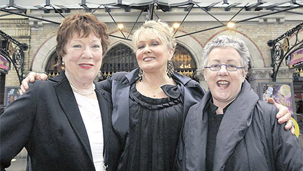 Rosaleen Linehan, Adele King and Garry Hynes at the launch of the Gaiety Theatre's spring/summer programme yesterday