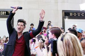 Danny O'Donoghue of The Script sings to fans in New York yesterday. Photo: Reuters
