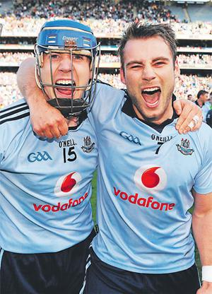 Dublin's Paul Ryan (left) and Shane Durkin celebrate after the Blues beat Kilkenny in the National League final