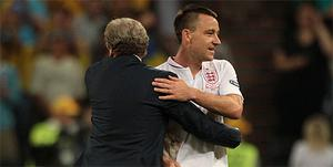 England manager Roy Hodgson and John Terry after the game against Ukraine in Euro 2012