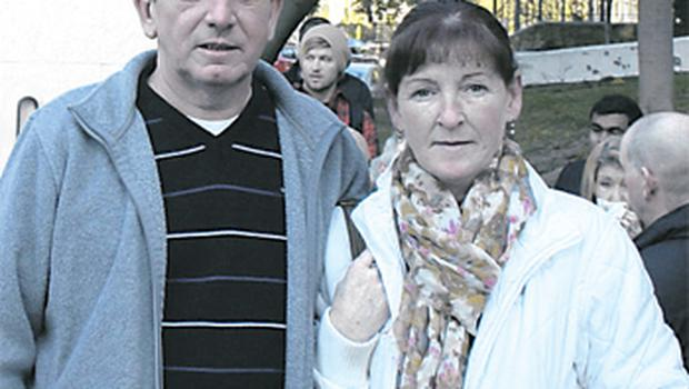 Disgruntled MRI customers Brendan O'Dell and Elizabeth Egan outside the court in Marbella