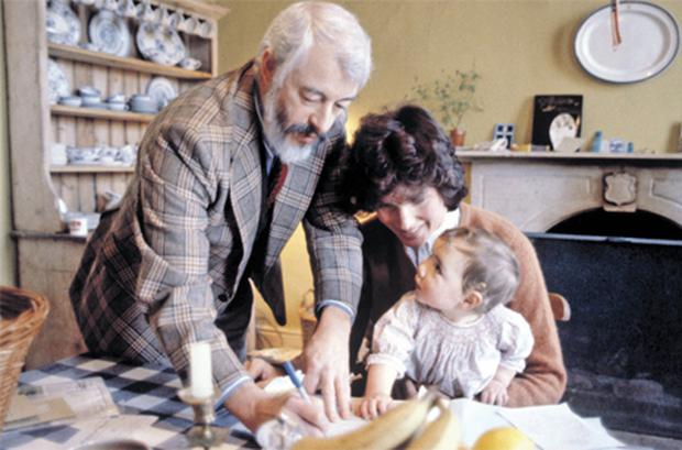JP Donleavy with his second wife, actress Mary Wilson Price, and daughter Rebecca who was fathered by Kieran Guinness during an affair