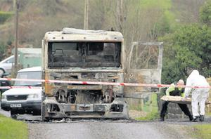 The lorry was later found burned out on a roadside