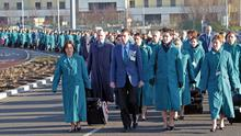 Cabin crew at Dublin Airport yesterday during their march to Aer Lingus headquarters. Photo: Collins
