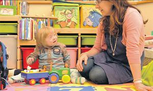 Play time: Aisling McNiffe, with her son Jack, is campaigning against cuts to Special Needs Assistants. Picture by Dave Meehan