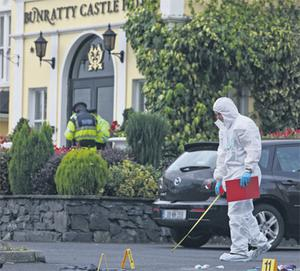 Gardai and forensics officers conduct a search at the scene of yesterday's gun attack outside the Bunratty Castle Hotel