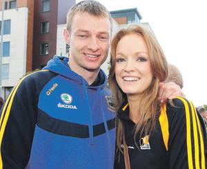 Hugh Coghlan from Tipperary and Kilkenny fan Siobhan Henderson at the final yesterday