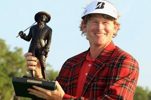Brandt Snedeker poses with the trophy after defeating Luke Donald in a play-off to win the The Heritage at Harbour Town, South Carolina, on Sunday. Photo: Getty Images