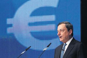 European Central Bank president Mario Draghi speaks during the Economy Day 2012 in Frankfurt yesterday. The ECB's new bond-buying programme allows for unlimited interventions in sovereign debt markets and should dispel concerns about a eurozone break-up, Draghi said. Photo: Reuters