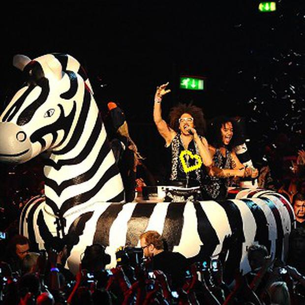 Redfoo and SkyBlu of LMFAO, who created the most-downloaded track of the year on iTunes
