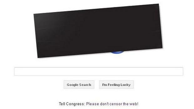 Gogle blacked out the logo on the US version of their site