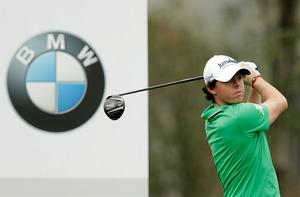 Rory McIlroy hits his tee shot on the tenth hole during the first round of the BMW Masters