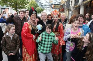 Louis Walsh pictured in Dublin yesterday with Mikey Graham and Una Pedreschi to announce his part in the Gaiety's panto
