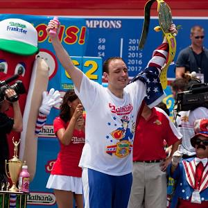 Joey Chestnut wolfed down 62 hotdogs to win his fifth consecutive Fourth of July hot dog eating contest (AP)