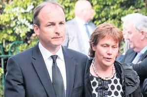 Micheal and Mary Martin at Brian Lenihan's removal yesterday