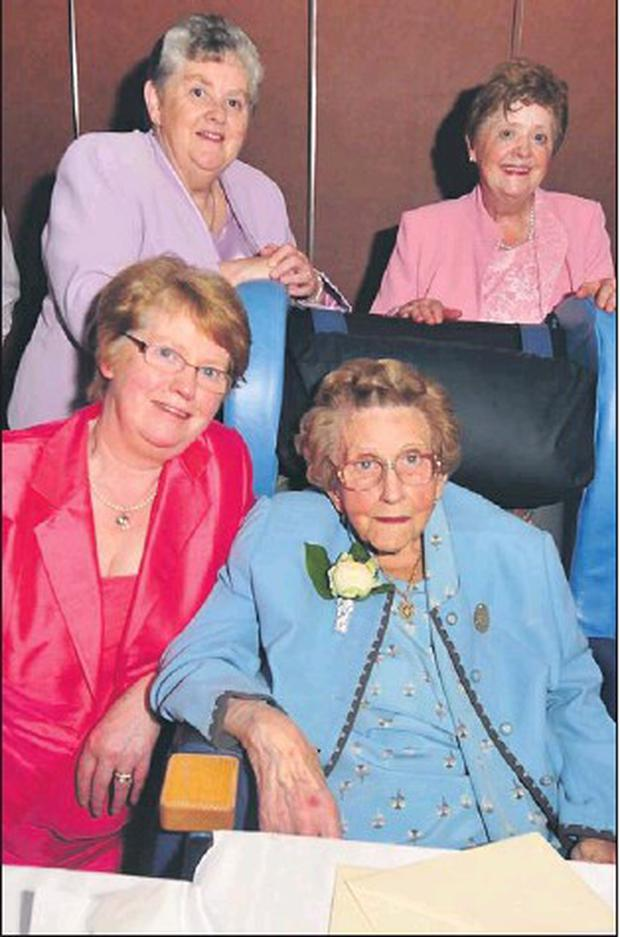 Margaret Reen with her daughters Peggy, Eileen and Annabelle at her 100th birthday party in the Green Glens, Millstreet. Credit: Photo by John Tarrant