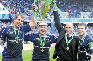Two of the best imports to grace the Irish game - Rocky Elsom and Felipe Contepomi - celebrate after Leinster's Heineken Cup victory in 2009 with team-mates Brian O'Driscoll and Gordon D'Arcy