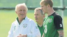 Republic of Ireland manager Giovanni Trapattoni with James McClean during squad training last week. Photo: Paul Mohan